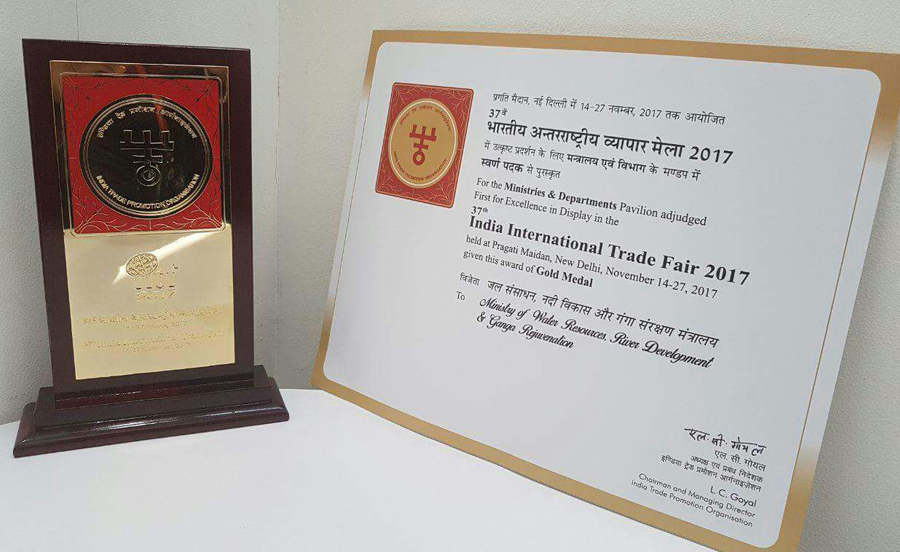 The pavilion of MoWR, RD & GR bags gold medal in India International Trade Fair- 2017
